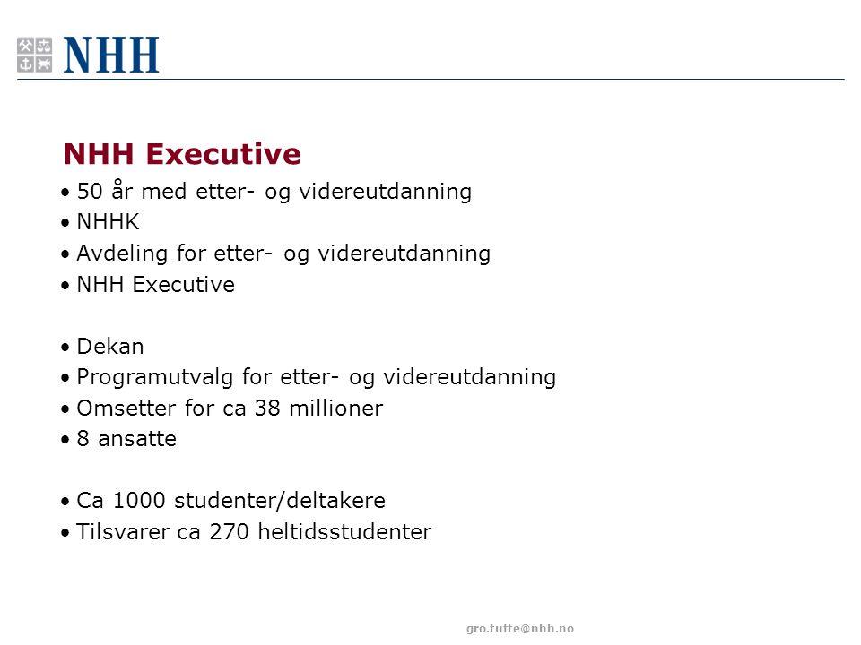gro.tufte@nhh.no NHH Executive 50 år med etter- og videreutdanning NHHK Avdeling for etter- og videreutdanning NHH Executive Dekan Programutvalg for e
