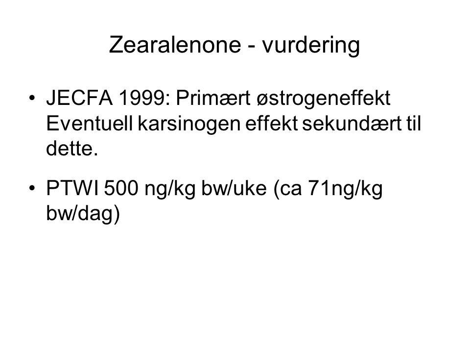 Zearalenone - vurdering JECFA 1999: Primært østrogeneffekt Eventuell karsinogen effekt sekundært til dette. PTWI 500 ng/kg bw/uke (ca 71ng/kg bw/dag)