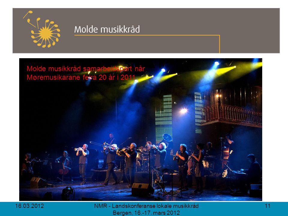 16.03.2012 NMR - Landskonferanse lokale musikkråd Bergen, 16.-17. mars 2012 11 Molde musikkråd samarbeidspart når Møremusikarane feira 20 år i 2011