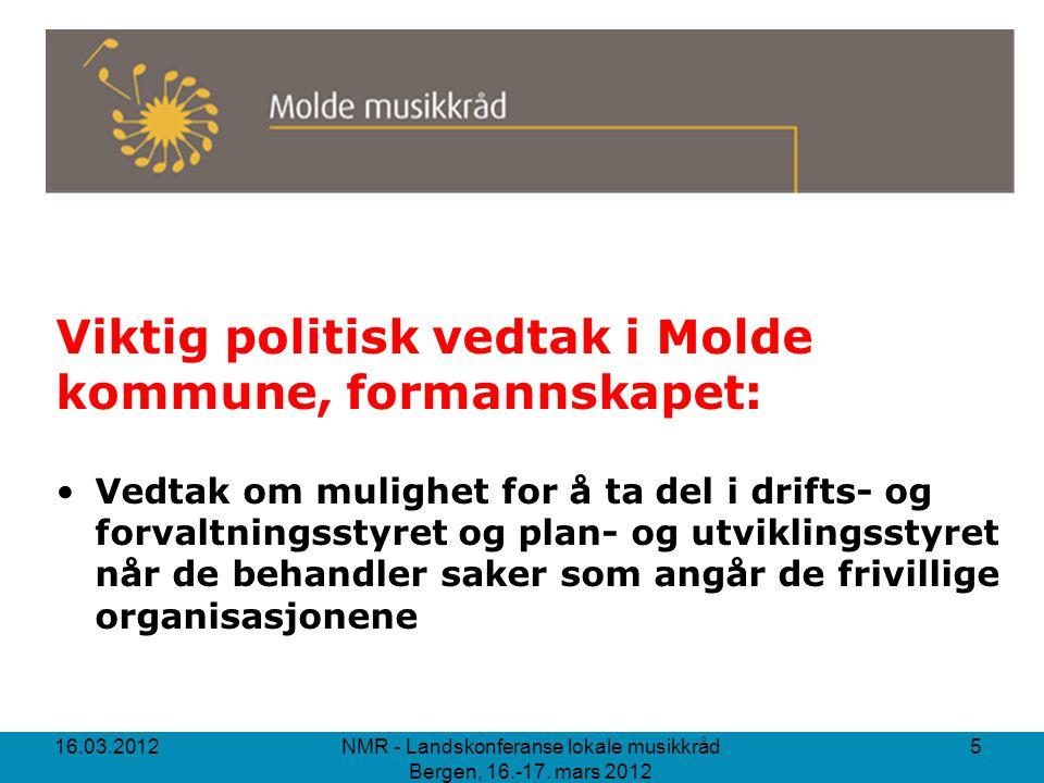 Viktig politisk vedtak i Molde kommune, formannskapet: Vedtak om mulighet for å ta del i drifts- og forvaltningsstyret og plan- og utviklingsstyret nå