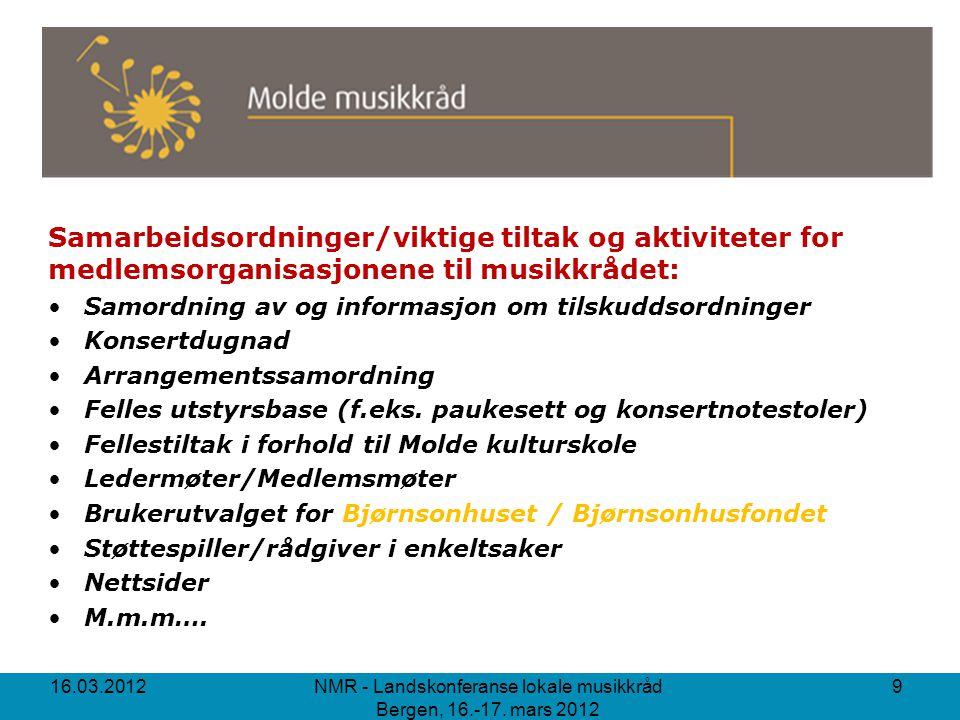 www.musikk.no/molde 16.03.2012 NMR - Landskonferanse lokale musikkråd Bergen, 16.-17. mars 2012 10