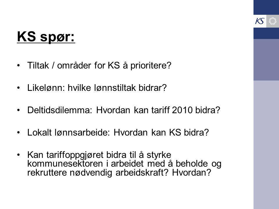 KS spør: Tiltak / områder for KS å prioritere? Likelønn: hvilke lønnstiltak bidrar? Deltidsdilemma: Hvordan kan tariff 2010 bidra? Lokalt lønnsarbeide