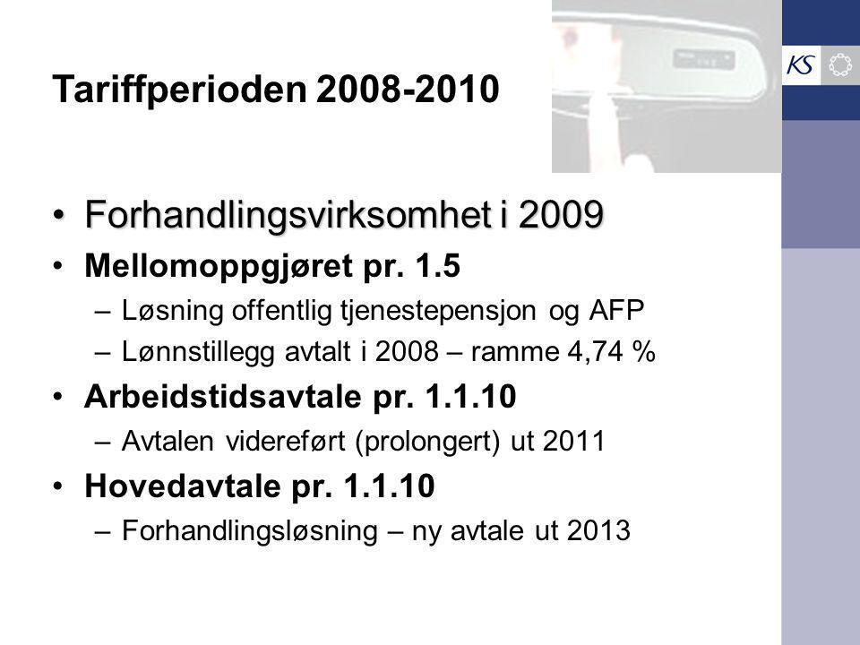 Forhandlingsvirksomhet i 2009Forhandlingsvirksomhet i 2009 Mellomoppgjøret pr. 1.5 –Løsning offentlig tjenestepensjon og AFP –Lønnstillegg avtalt i 20