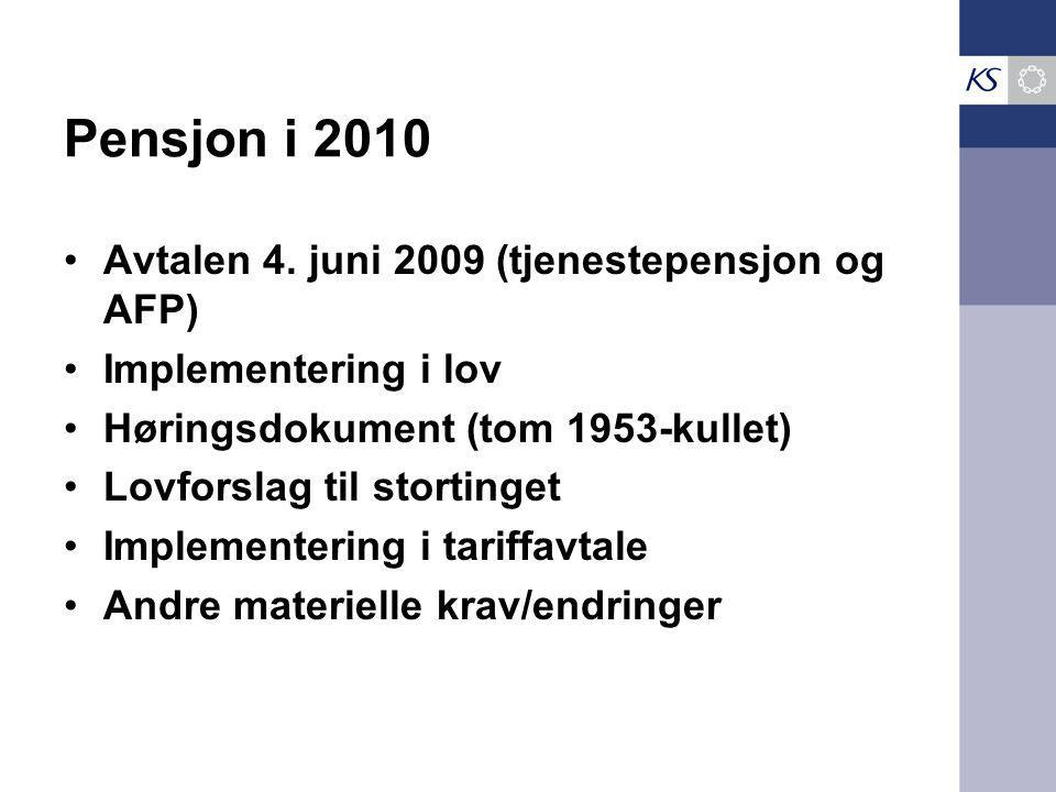 Pensjon i 2010 Avtalen 4. juni 2009 (tjenestepensjon og AFP) Implementering i lov Høringsdokument (tom 1953-kullet) Lovforslag til stortinget Implemen