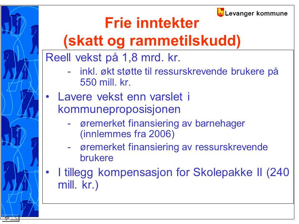Levanger kommune Frie inntekter (skatt og rammetilskudd) Reell vekst på 1,8 mrd.