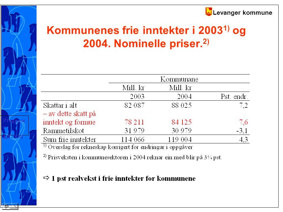 Levanger kommune Kommunenes frie inntekter i 2003 1) og 2004.
