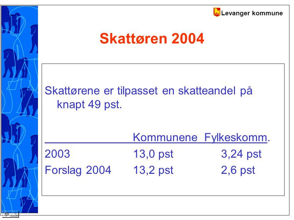 Levanger kommune Skattøren 2004 Skattørene er tilpasset en skatteandel på knapt 49 pst.
