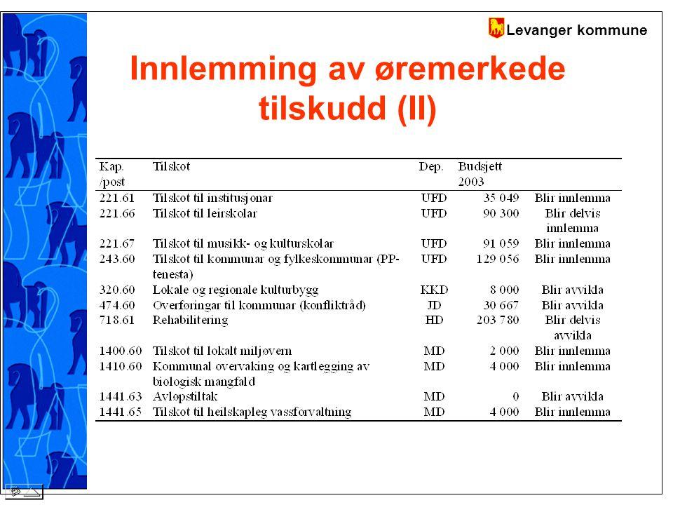 Levanger kommune Innlemming av øremerkede tilskudd (II)