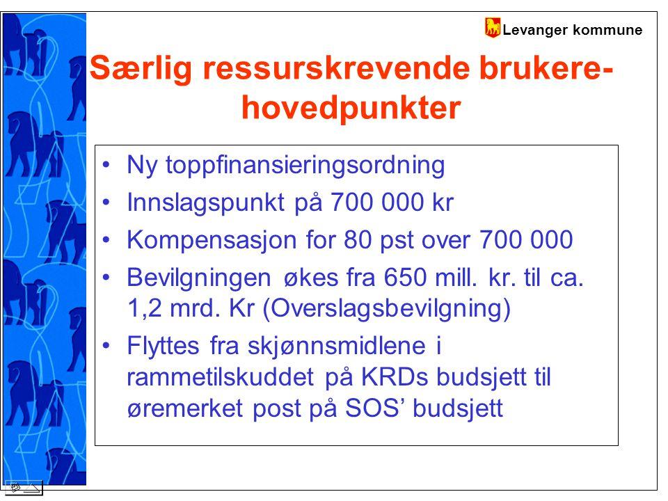 Levanger kommune Særlig ressurskrevende brukere- hovedpunkter Ny toppfinansieringsordning Innslagspunkt på 700 000 kr Kompensasjon for 80 pst over 700 000 Bevilgningen økes fra 650 mill.
