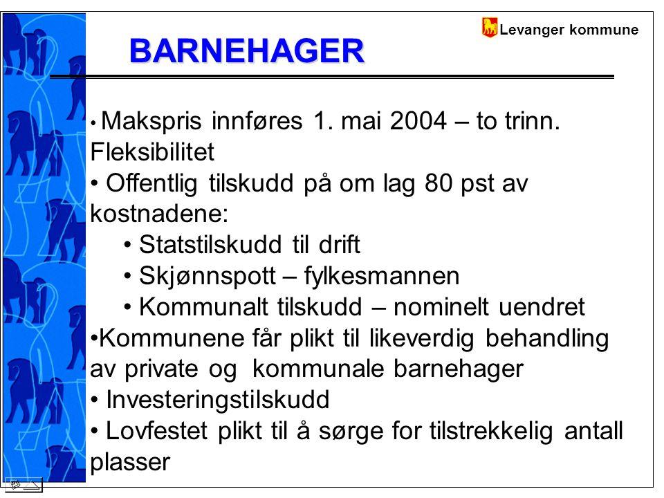 Levanger kommuneBARNEHAGER Makspris innføres 1. mai 2004 – to trinn.