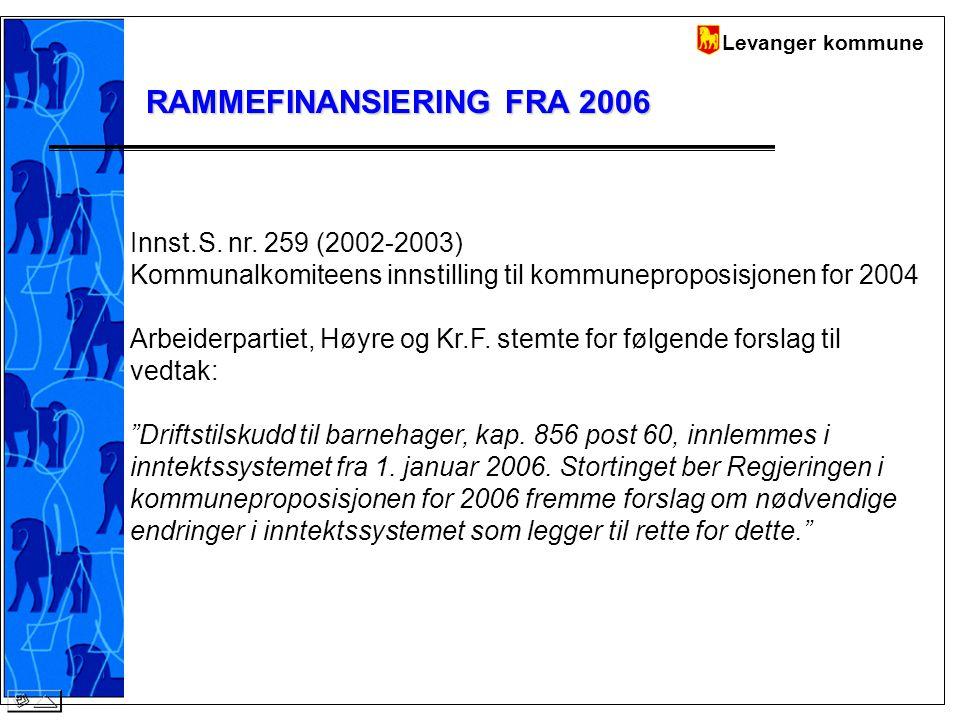 Levanger kommune RAMMEFINANSIERING FRA 2006 Innst.S.