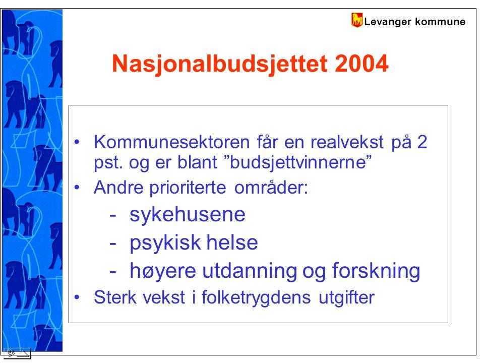 Levanger kommune Nasjonalbudsjettet 2004 Kommunesektoren får en realvekst på 2 pst.
