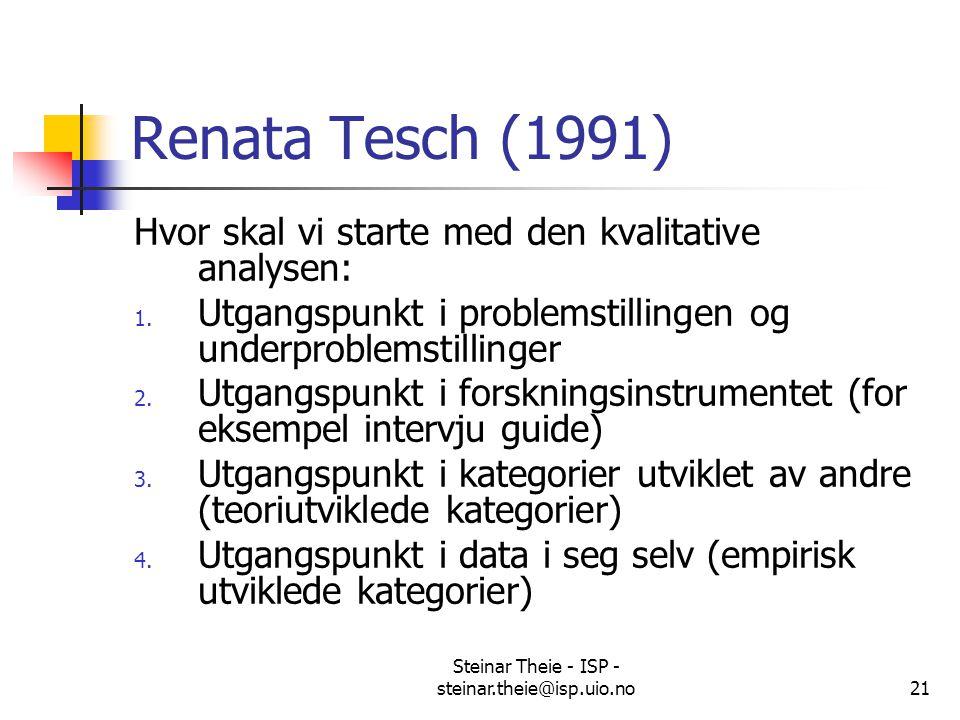 Steinar Theie - ISP - steinar.theie@isp.uio.no21 Renata Tesch (1991) Hvor skal vi starte med den kvalitative analysen: 1. Utgangspunkt i problemstilli
