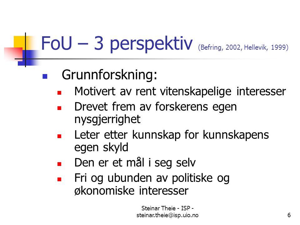 Steinar Theie - ISP - steinar.theie@isp.uio.no6 FoU – 3 perspektiv (Befring, 2002, Hellevik, 1999) Grunnforskning: Motivert av rent vitenskapelige int
