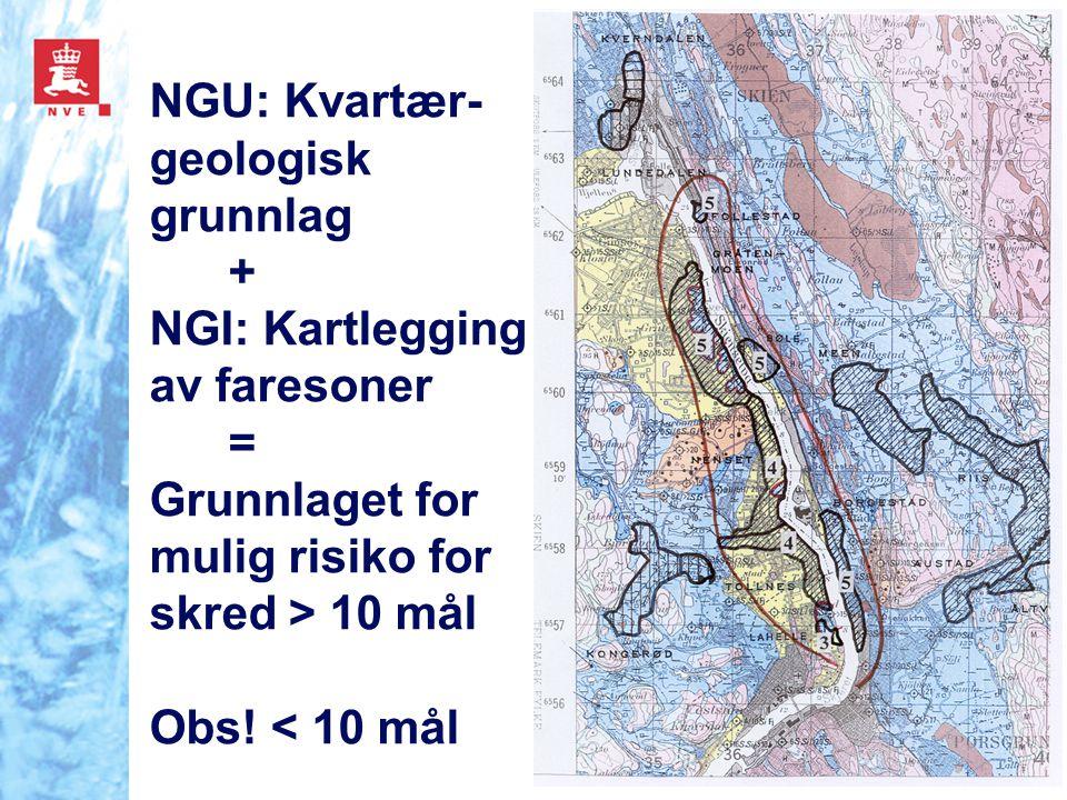 NGU: Kvartær- geologisk grunnlag + NGI: Kartlegging av faresoner = Grunnlaget for mulig risiko for skred > 10 mål Obs! < 10 mål