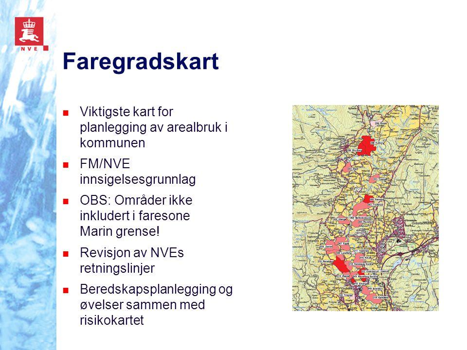 Risikokartet Grunnlag for NVEs bistand til prioritering av sikringstiltak Grunnlag for videreprioritering av nødvendige grunn- undersøkelser Beredskapsplanlegging og øvelser sammen med faregradskartet