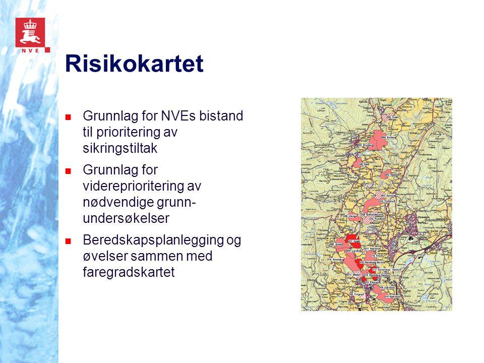 Risikokartet Grunnlag for NVEs bistand til prioritering av sikringstiltak Grunnlag for videreprioritering av nødvendige grunn- undersøkelser Beredskap
