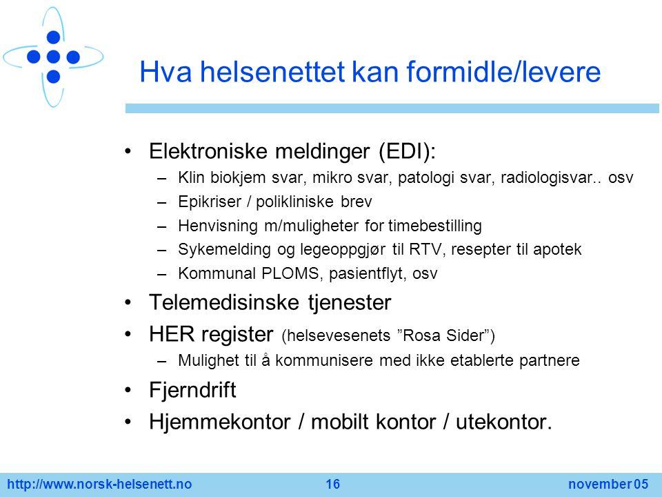 http://www.norsk-helsenett.no 16 november 05 Hva helsenettet kan formidle/levere Elektroniske meldinger (EDI): –Klin biokjem svar, mikro svar, patolog