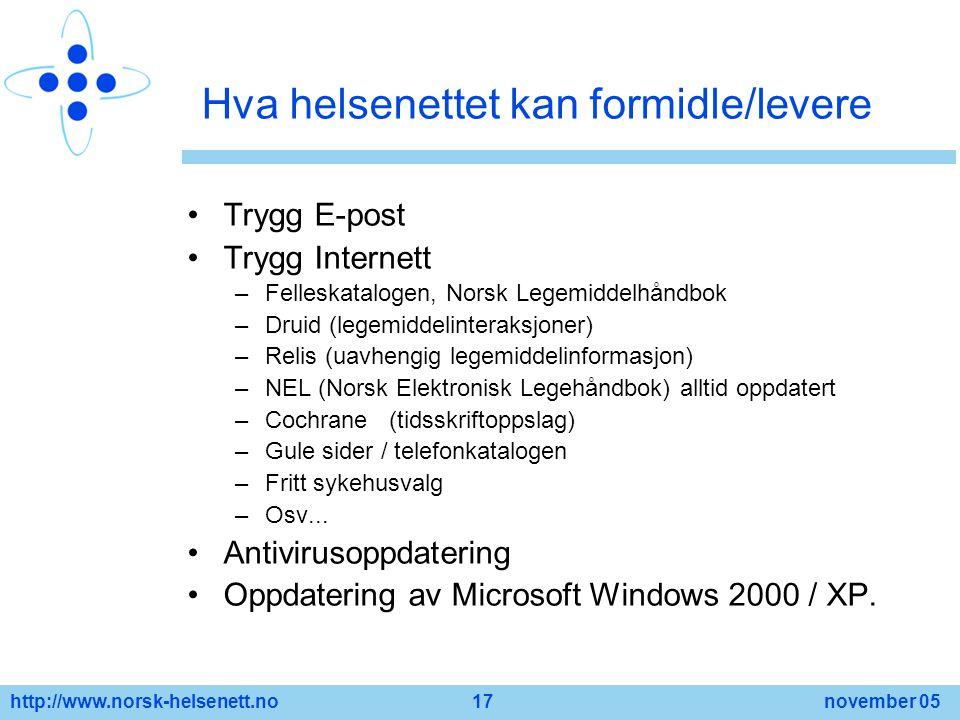 http://www.norsk-helsenett.no 17 november 05 Hva helsenettet kan formidle/levere Trygg E-post Trygg Internett –Felleskatalogen, Norsk Legemiddelhåndbo