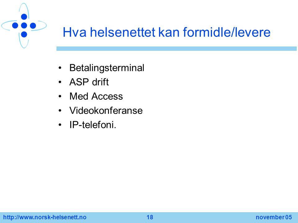 http://www.norsk-helsenett.no 18 november 05 Hva helsenettet kan formidle/levere Betalingsterminal ASP drift Med Access Videokonferanse IP-telefoni.