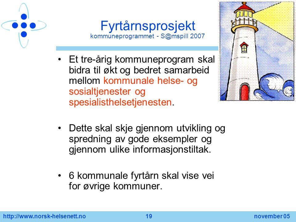 http://www.norsk-helsenett.no 19 november 05 Fyrtårnsprosjekt kommuneprogrammet - S@mspill 2007 Et tre-årig kommuneprogram skal bidra til økt og bedre