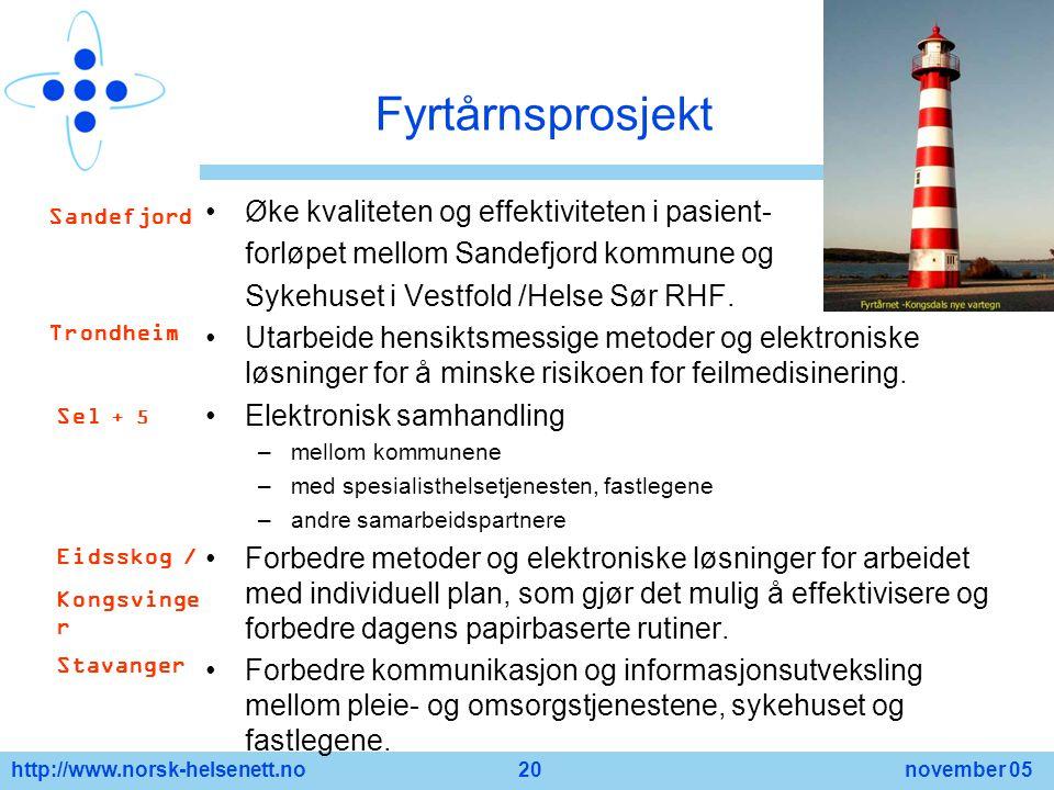 http://www.norsk-helsenett.no 20 november 05 Fyrtårnsprosjekt Øke kvaliteten og effektiviteten i pasient- forløpet mellom Sandefjord kommune og Sykehu