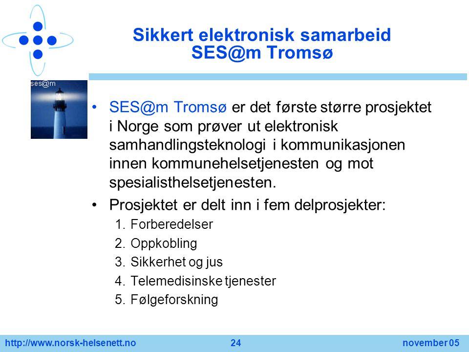 http://www.norsk-helsenett.no 24 november 05 Sikkert elektronisk samarbeid SES@m Tromsø SES@m Tromsø er det første større prosjektet i Norge som prøve