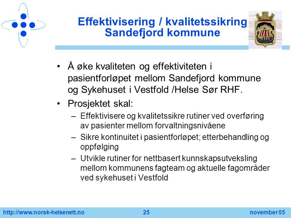 http://www.norsk-helsenett.no 25 november 05 Effektivisering / kvalitetssikring Sandefjord kommune Å øke kvaliteten og effektiviteten i pasientforløpe