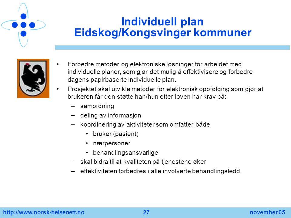 http://www.norsk-helsenett.no 27 november 05 Individuell plan Eidskog/Kongsvinger kommuner Forbedre metoder og elektroniske løsninger for arbeidet med