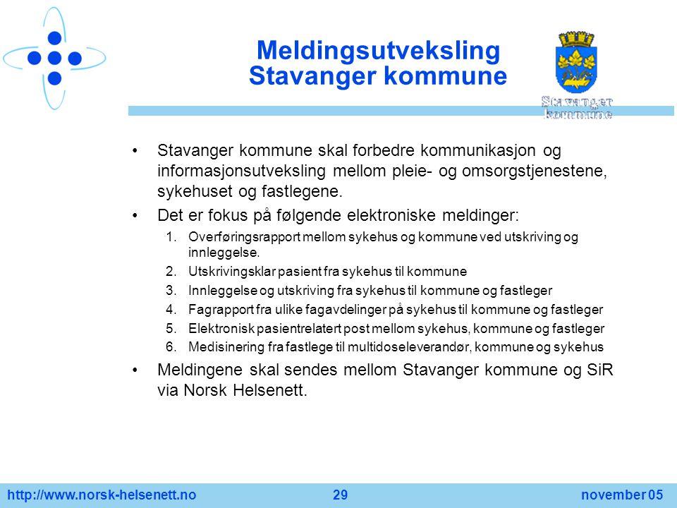 http://www.norsk-helsenett.no 29 november 05 Meldingsutveksling Stavanger kommune Stavanger kommune skal forbedre kommunikasjon og informasjonsutveksl