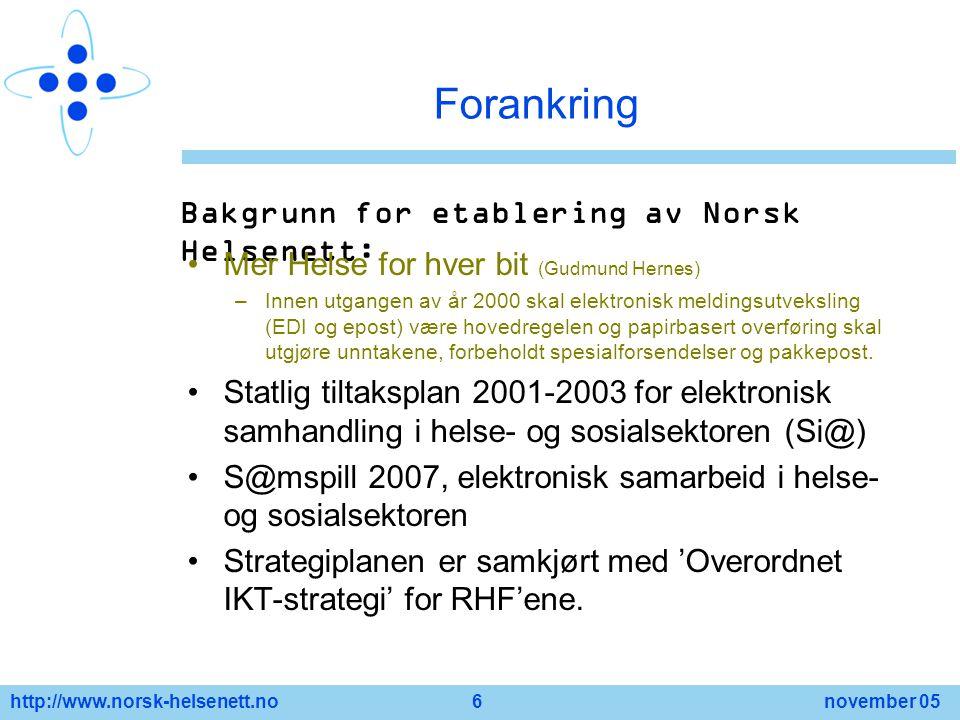 http://www.norsk-helsenett.no 6 november 05 Forankring Bakgrunn for etablering av Norsk Helsenett: Mer Helse for hver bit (Gudmund Hernes) –Innen utga