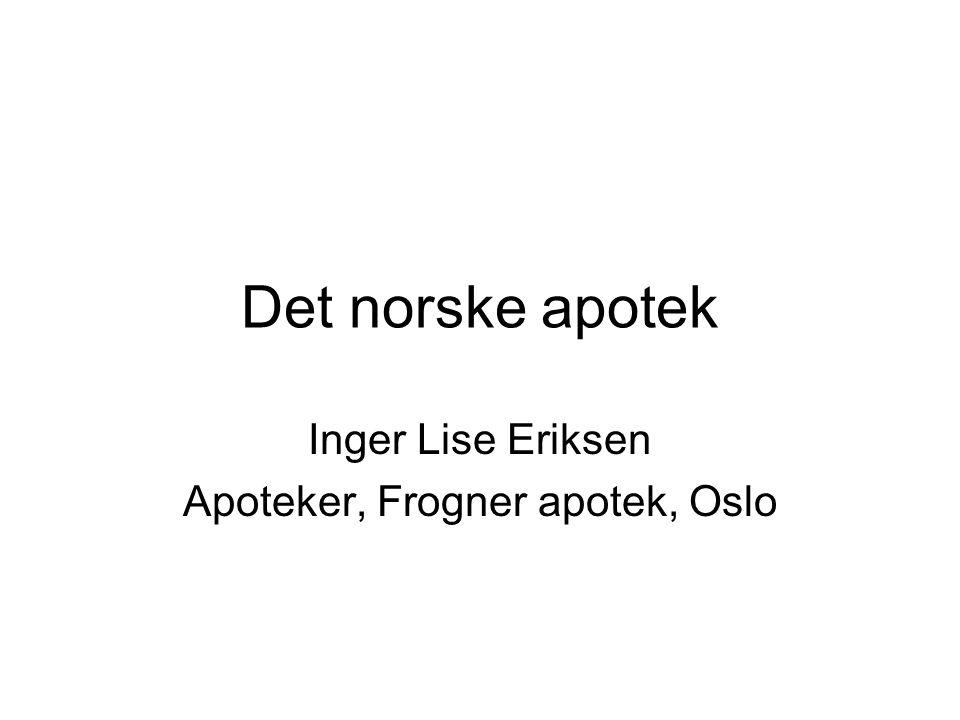 Det norske apotek Inger Lise Eriksen Apoteker, Frogner apotek, Oslo