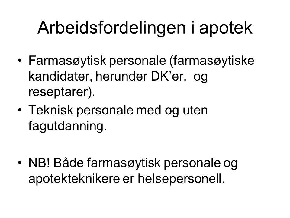 Arbeidsfordelingen i apotek Farmasøytisk personale (farmasøytiske kandidater, herunder DK'er, og reseptarer). Teknisk personale med og uten fagutdanni