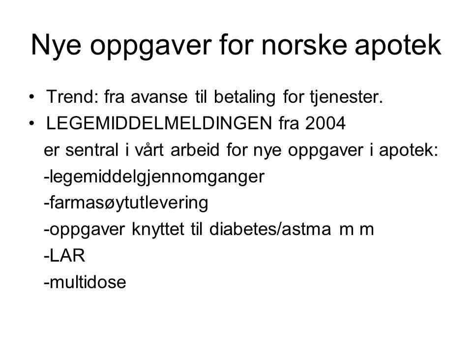 Nye oppgaver for norske apotek Trend: fra avanse til betaling for tjenester. LEGEMIDDELMELDINGEN fra 2004 er sentral i vårt arbeid for nye oppgaver i