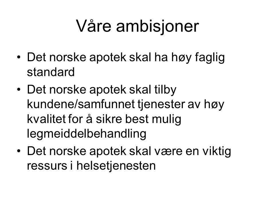 Våre ambisjoner Det norske apotek skal ha høy faglig standard Det norske apotek skal tilby kundene/samfunnet tjenester av høy kvalitet for å sikre bes