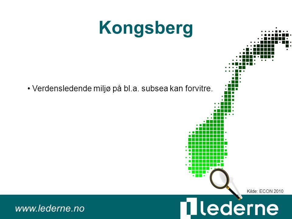 www.lederne.no Kongsberg Verdensledende miljø på bl.a. subsea kan forvitre. Kilde: ECON 2010