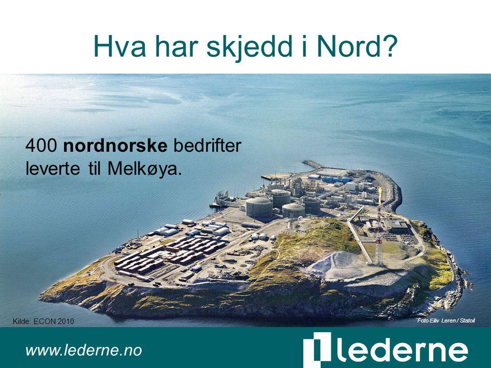www.lederne.no Hva har skjedd i Nord. 400 nordnorske bedrifter leverte til Melkøya.