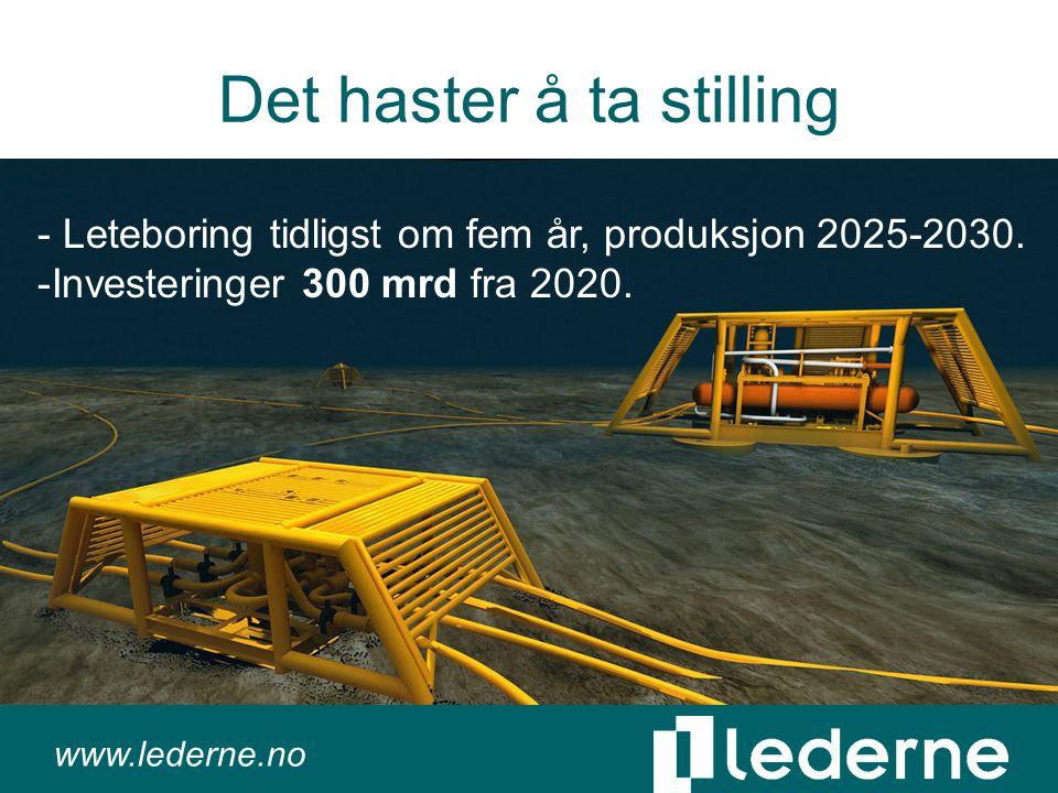 www.lederne.no Det haster å ta stilling - Leteboring tidligst om fem år, produksjon 2025-2030.