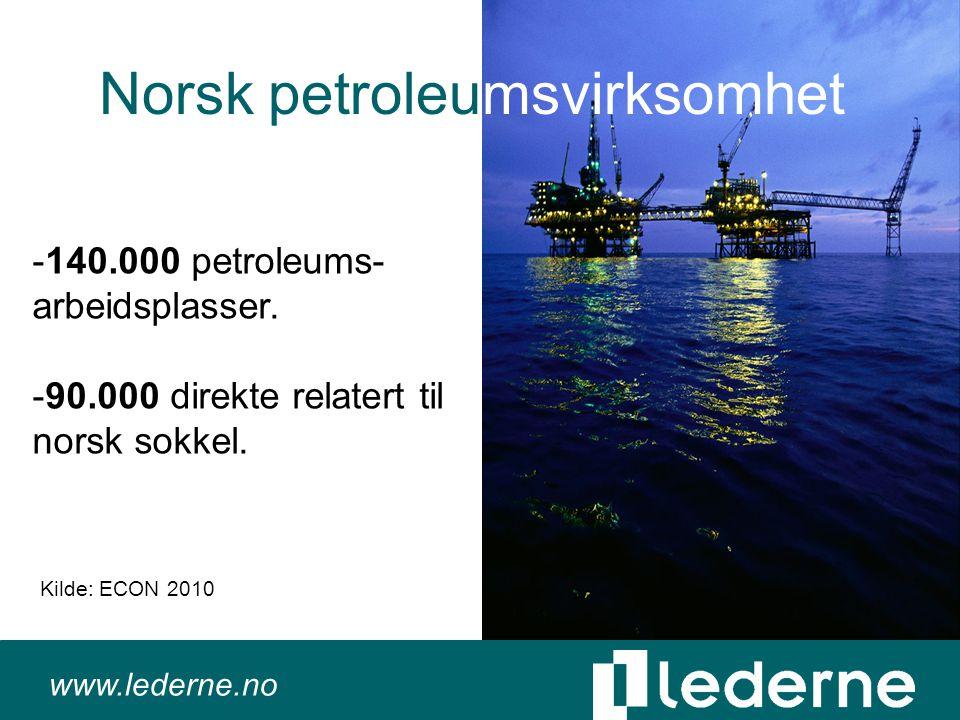www.lederne.no Norsk petroleumsvirksomhet -140.000 petroleums- arbeidsplasser.