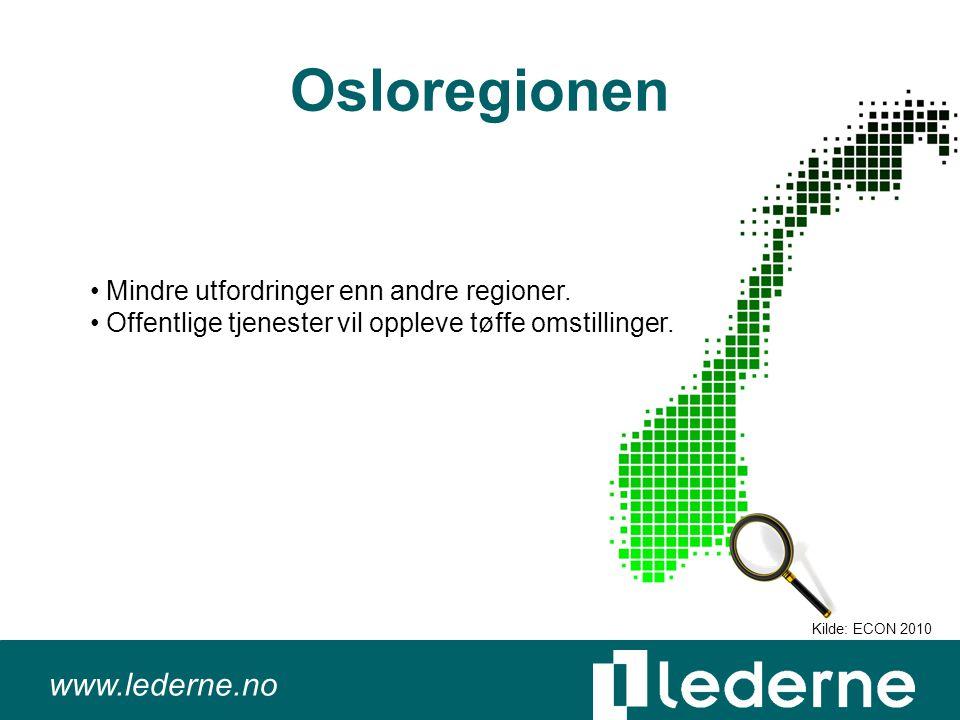 www.lederne.no Osloregionen Mindre utfordringer enn andre regioner.