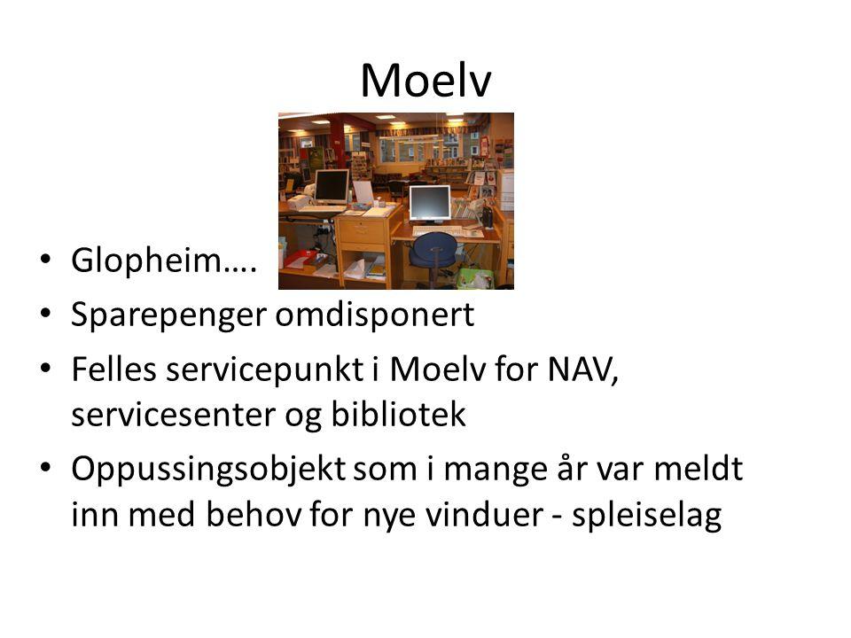 Moelv Glopheim…. Sparepenger omdisponert Felles servicepunkt i Moelv for NAV, servicesenter og bibliotek Oppussingsobjekt som i mange år var meldt inn