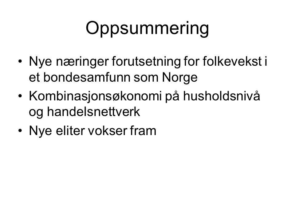 Oppsummering Nye næringer forutsetning for folkevekst i et bondesamfunn som Norge Kombinasjonsøkonomi på husholdsnivå og handelsnettverk Nye eliter vo