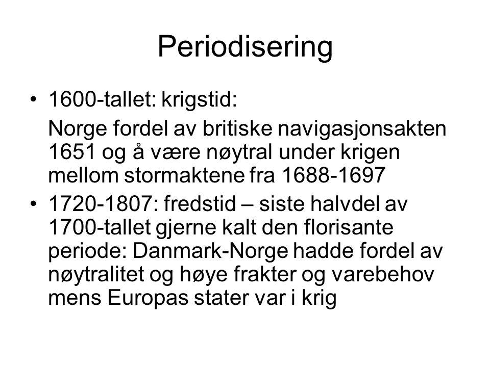 Periodisering 1600-tallet: krigstid: Norge fordel av britiske navigasjonsakten 1651 og å være nøytral under krigen mellom stormaktene fra 1688-1697 17