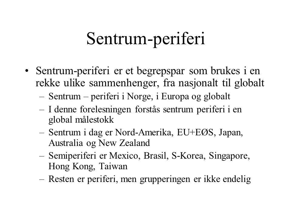 Sentrum-periferi Sentrum-periferi er et begrepspar som brukes i en rekke ulike sammenhenger, fra nasjonalt til globalt –Sentrum – periferi i Norge, i