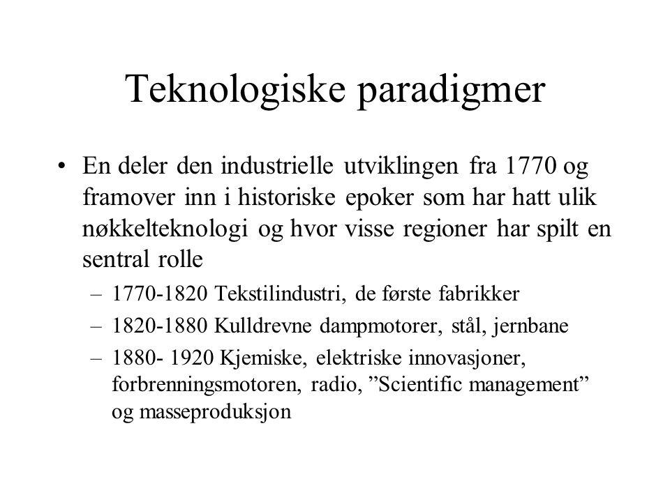Teknologiske paradigmer En deler den industrielle utviklingen fra 1770 og framover inn i historiske epoker som har hatt ulik nøkkelteknologi og hvor v
