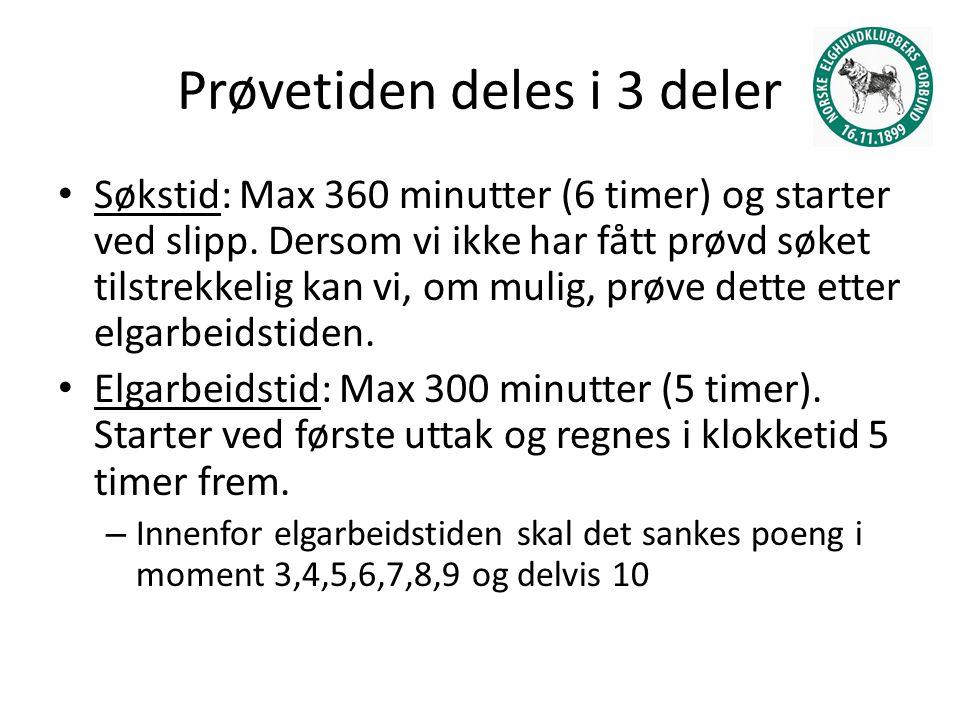 Prøvetiden deles i 3 deler Søkstid: Max 360 minutter (6 timer) og starter ved slipp.