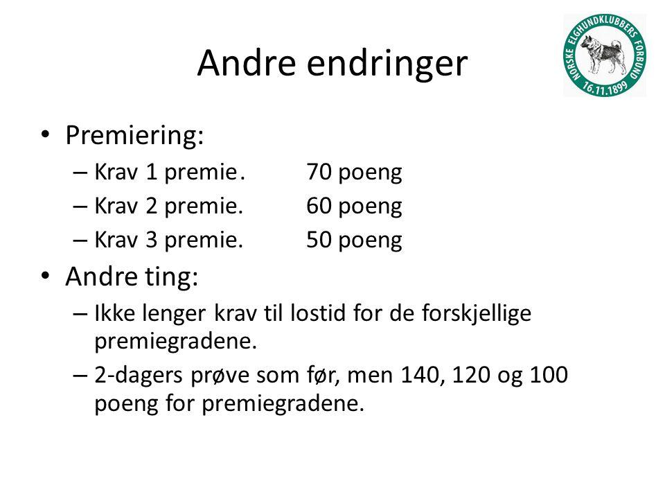 Andre endringer Premiering: – Krav 1 premie. 70 poeng – Krav 2 premie.