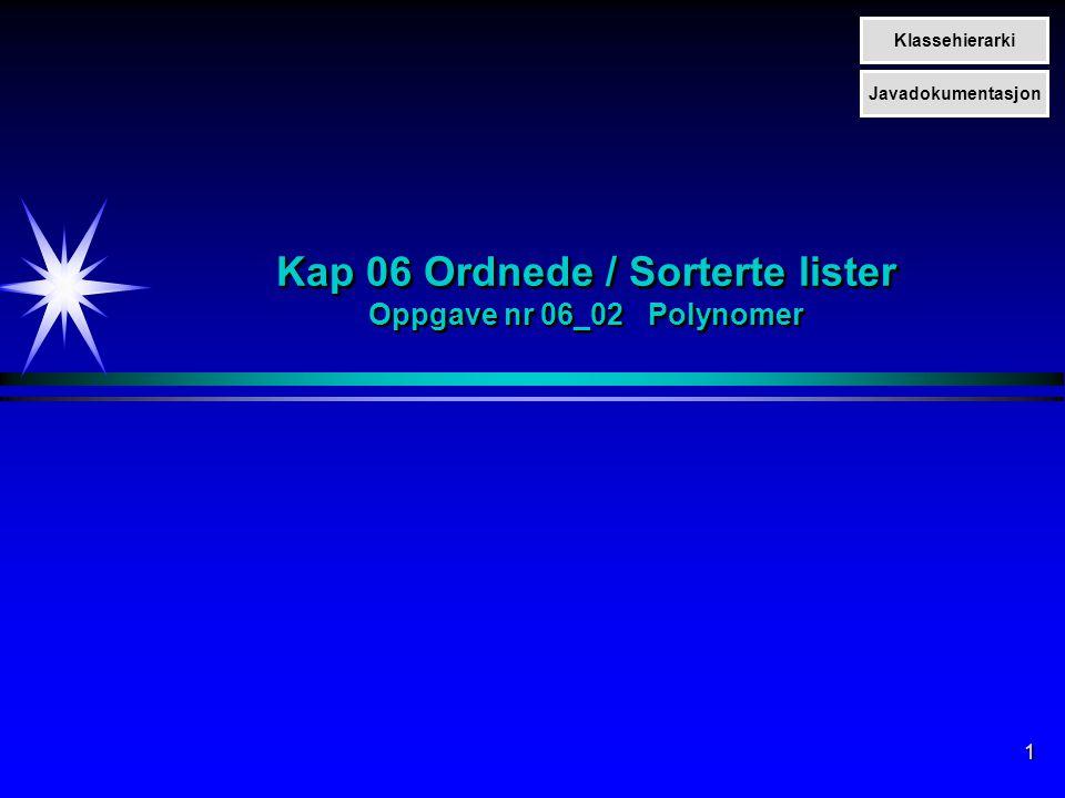 1 Kap 06 Ordnede / Sorterte lister Oppgave nr 06_02 Polynomer Klassehierarki Javadokumentasjon