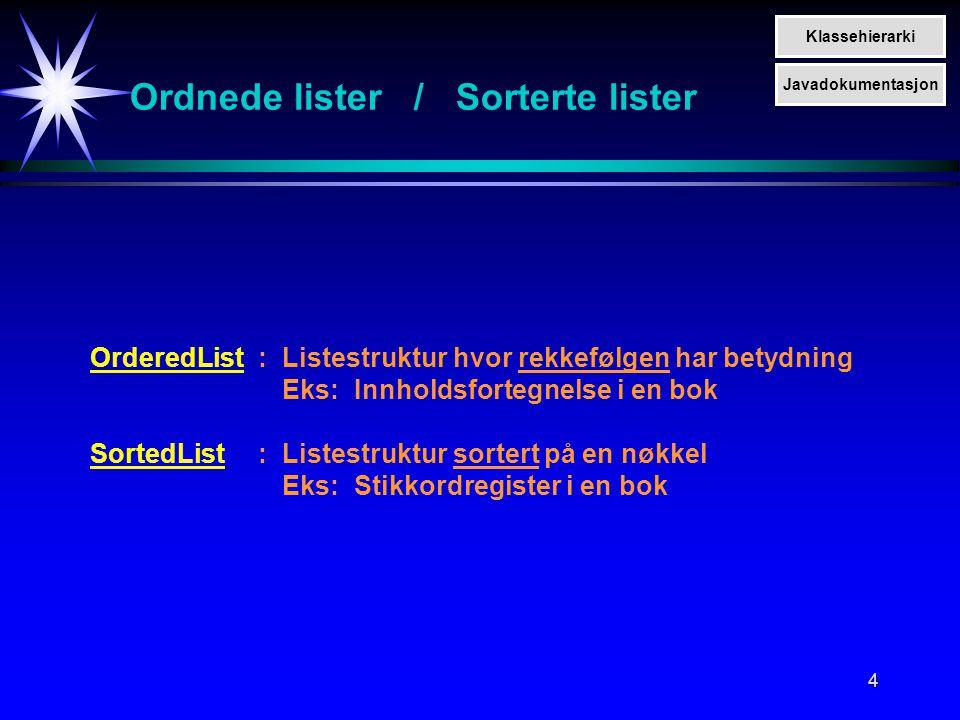 4 Ordnede lister / Sorterte lister OrderedList:Listestruktur hvor rekkefølgen har betydning Eks:Innholdsfortegnelse i en bok SortedList:Listestruktur