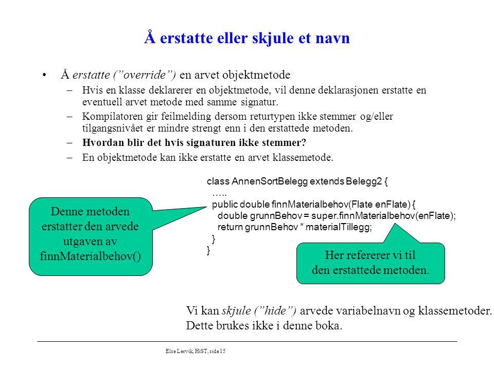 """Else Lervik, HiST, side 15 Å erstatte eller skjule et navn Å erstatte (""""override"""") en arvet objektmetode –Hvis en klasse deklarerer en objektmetode, v"""